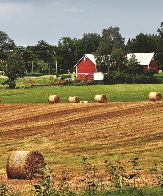 Red barn with bails of hay in field